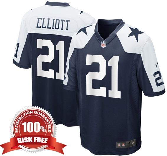Ezekiel Elliott  21 Dallas Cowboys Men Navy Alternate Game Jersey Player f2358ffd7