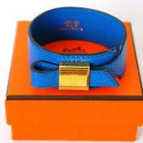Authentic HERMES Bangle Bracelet Blue Leather x Goldtone Kelly