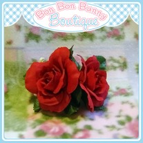 Flower Barrette - Red Rose