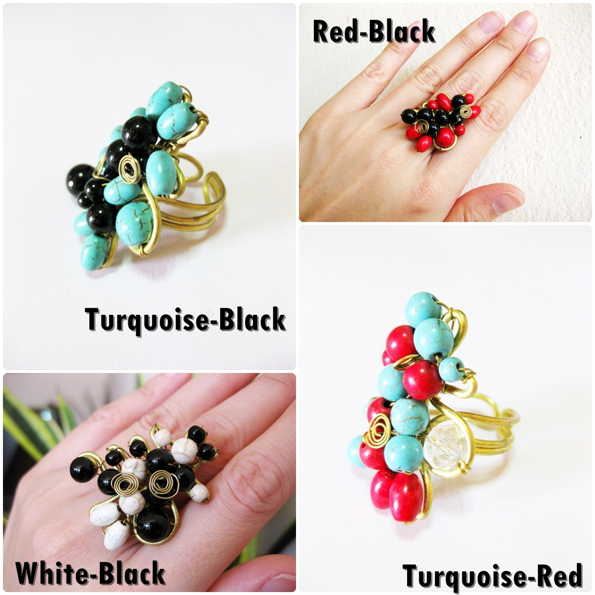 Beautiful Beaded Stones Wire Wrapped Brass Ring Adjustable Jewelry ...