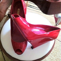 mui mui Pink Patent Leather wedge shoes