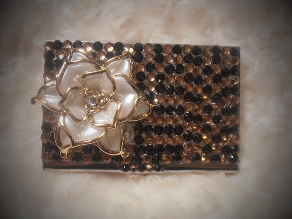 Fabulous bling custom made business card case id holder for Bling business card holder