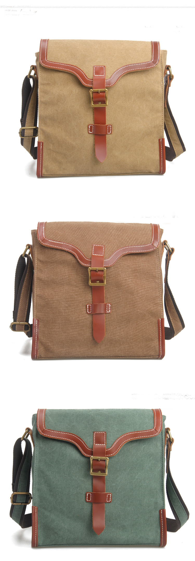 Cross -body bag Genuine Cow Leather Men's leather bag canvas Bag ...