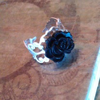 White Filigree Black Rose Ring