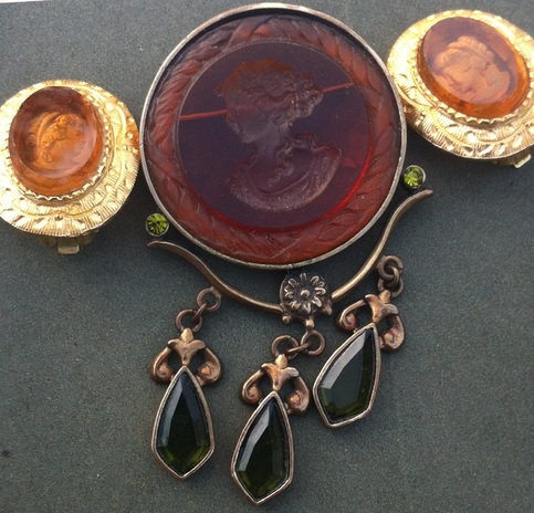 Amber Resin Carved Clip on Earrings and Brooch