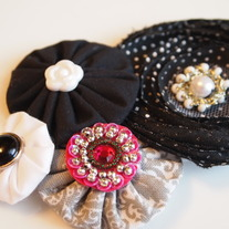 Black, grey and white cluster with bling