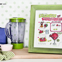 Small Bites Art - Frozen Slushy Watermelon With Lime Illustrated Recipe, Kitchen Art, 8x10 Print For Kids
