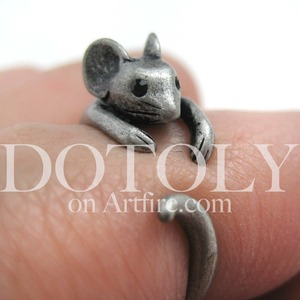Miniature Mouse Ring in Silver - Sizes 4 to 9 Available