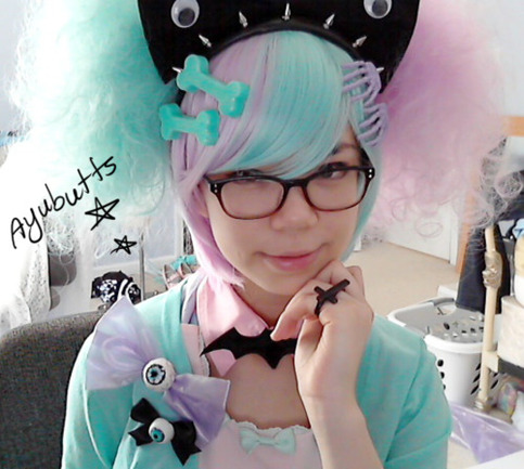 """Cotton Candy"" Two-Tone Split Lavender/Mint Sweet Lolita  Wig Set"