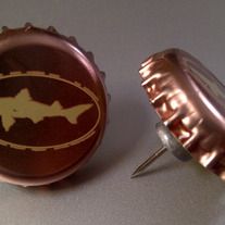 Dogfish Head Recycled Bottle Cap Thumb Tacks, Set of 2