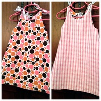 **ON SALE** Pink Polka Dot/Pink Stripe Reversible Dress