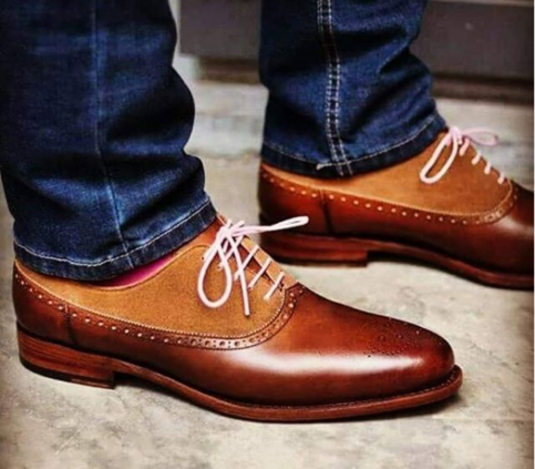 handmade two tone brown leather shoes men's dress casual