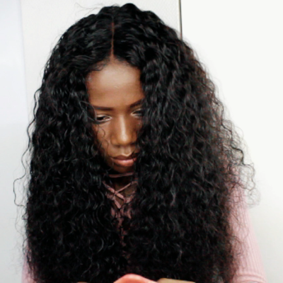 Natural wave handmade human hair wig