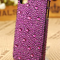 New All Bling Purple Crystals On Transparent Case For Apple iPhone 4 (#320)