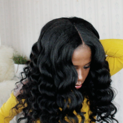 Natural looking blow-out kinky straight wig (human hair)