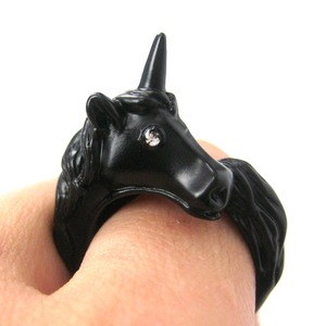 Adjustable Unicorn Animal Wrap Around Ring in Black
