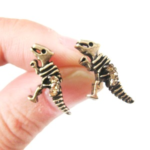 Dinosaur Skeleton Fossil Shaped Stud Earrings in Brass