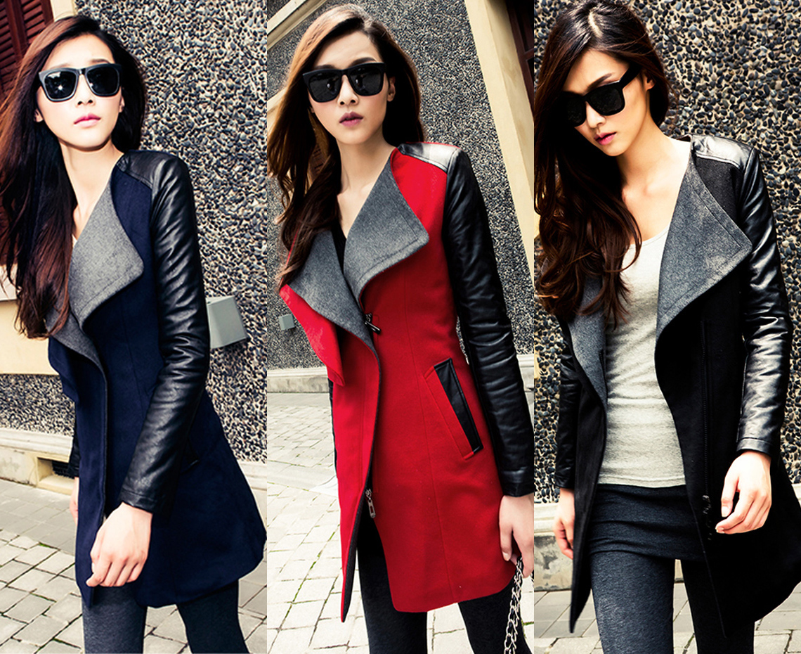 Faux leather sleeve jacket womens