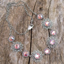 Silver Filigree and Rose Crystal Necklace