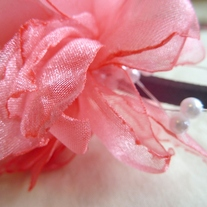 Coral Flower Headband with Pearl Sprays - Thumbnail 1