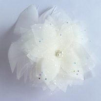 Ivory Flower Bridal Veil Fascinator with Swarovski Crystals and Marabou Feathers  - Thumbnail 3