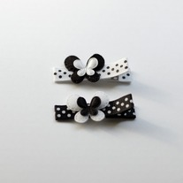 Mini butterfly clip, black/white
