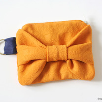 Orange Bow Zip Pouch