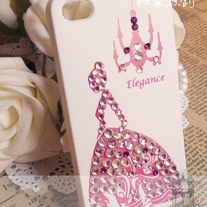 New Bling Crystal Sparkle Pink Elegant Princess iPhone 4/4S Case (#396)