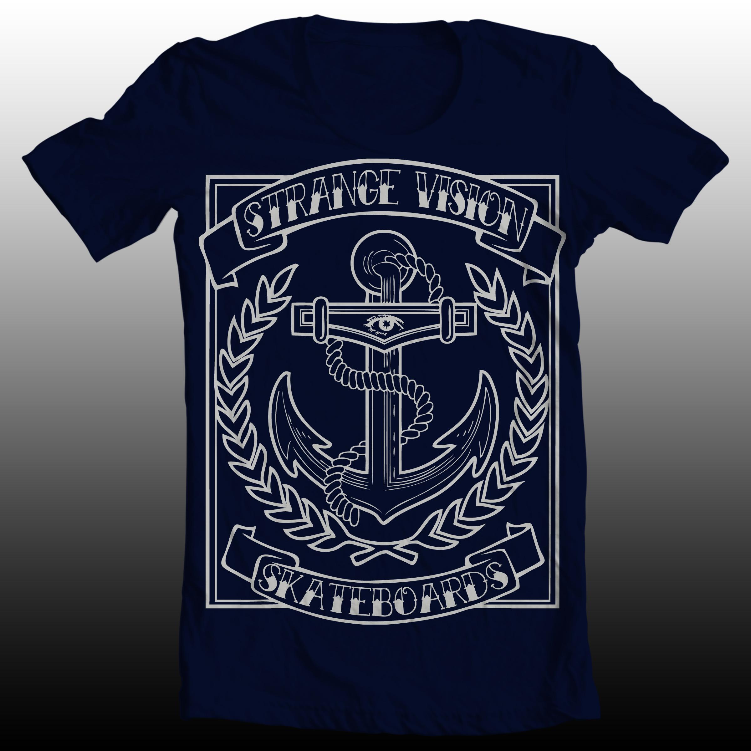 Navy anchor t shirt strange vision skateboard co for Online tee shirt companies