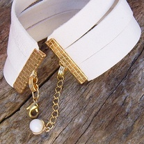 White Leather Adjustable Cuff Bracelet