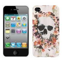 New Flowers Around Skull Printed Type iPhone 4/4S Case
