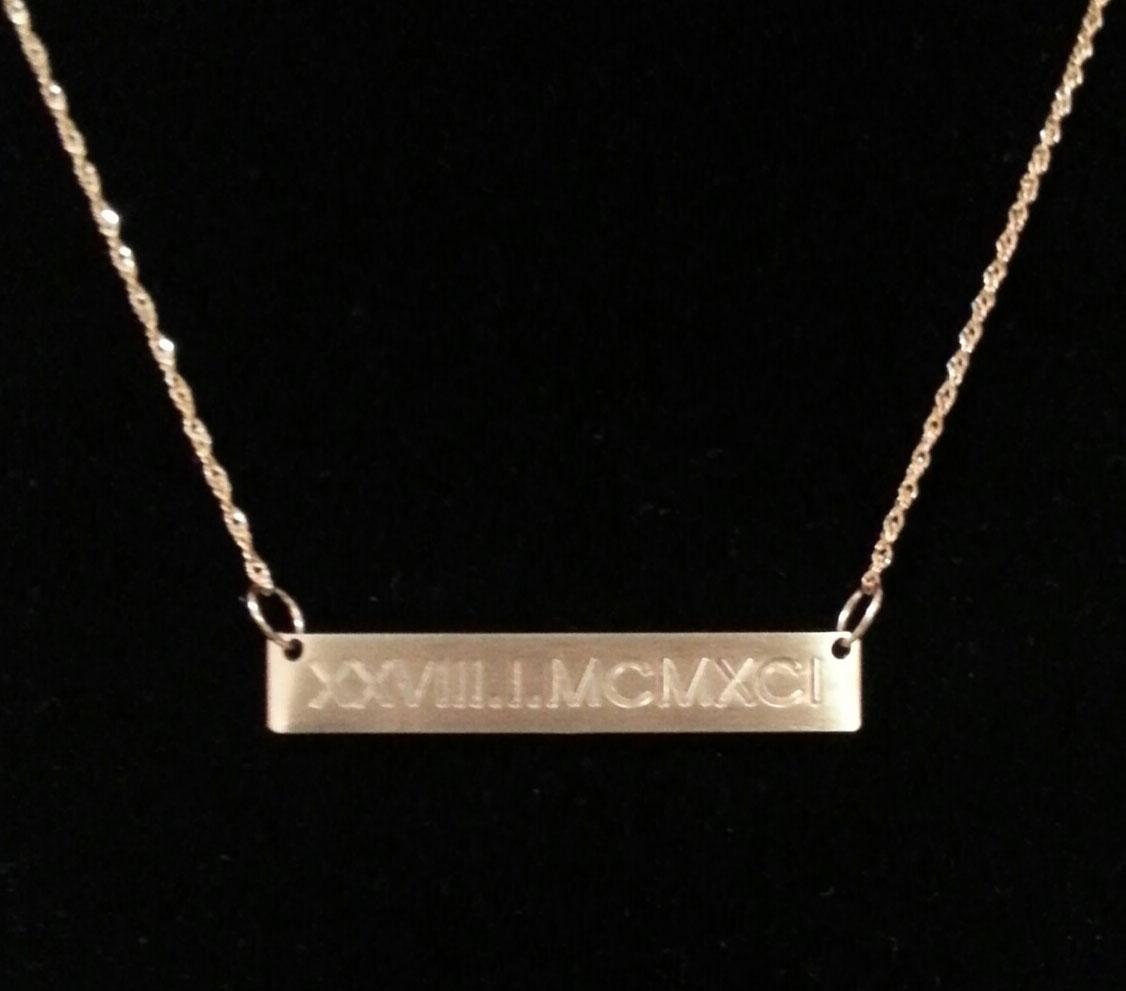 14k gold engraved horizontal bar necklace on storenvy. Black Bedroom Furniture Sets. Home Design Ideas