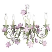 Pink/Green 5-Arm Leaf & Flower Chandelier