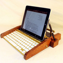 iPad Workstation - Keyboard - Tablet Dock - Victorian Marble Steampunk - Oak - With Pen Stylist - Desktop Workstation