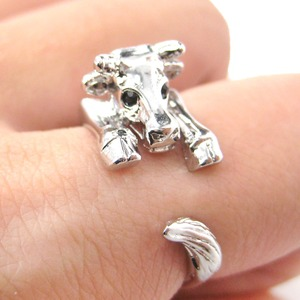 Miniature Baby Cow Bull Animal Hug Wrap Ring in Shiny Silver - Sizes 4 to 9