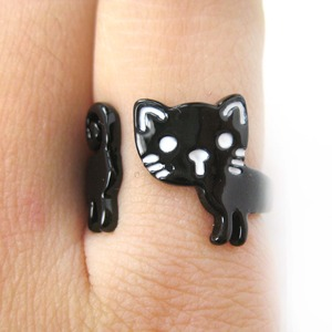 Cute Simple Kitty Cat Shaped Animal Wrap Ring in Black | Size 5 to 7