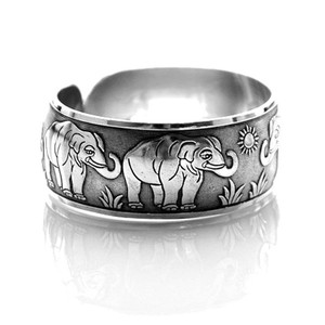 Elephant Parade Animal Themed Bangle Cuff Bracelet in Silver