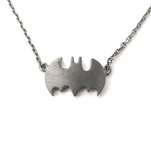 Classic Batman Bat Logo Shaped Charm Necklace in Gunmetal Silver