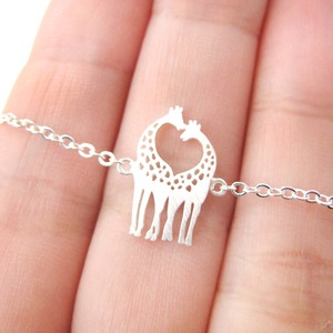Mother and Baby Giraffe Shaped Animal Pendant Necklace in Silver