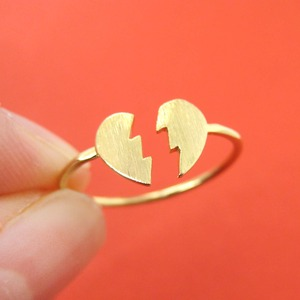 Heart Shaped Jigsaw Puzzle Broken Heart Adjustable Ring in Gold