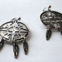 Large Antique Silver Dreamcatcher Earrings