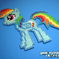 Rainbow Dash My Little Pony Perler Bead Sprite