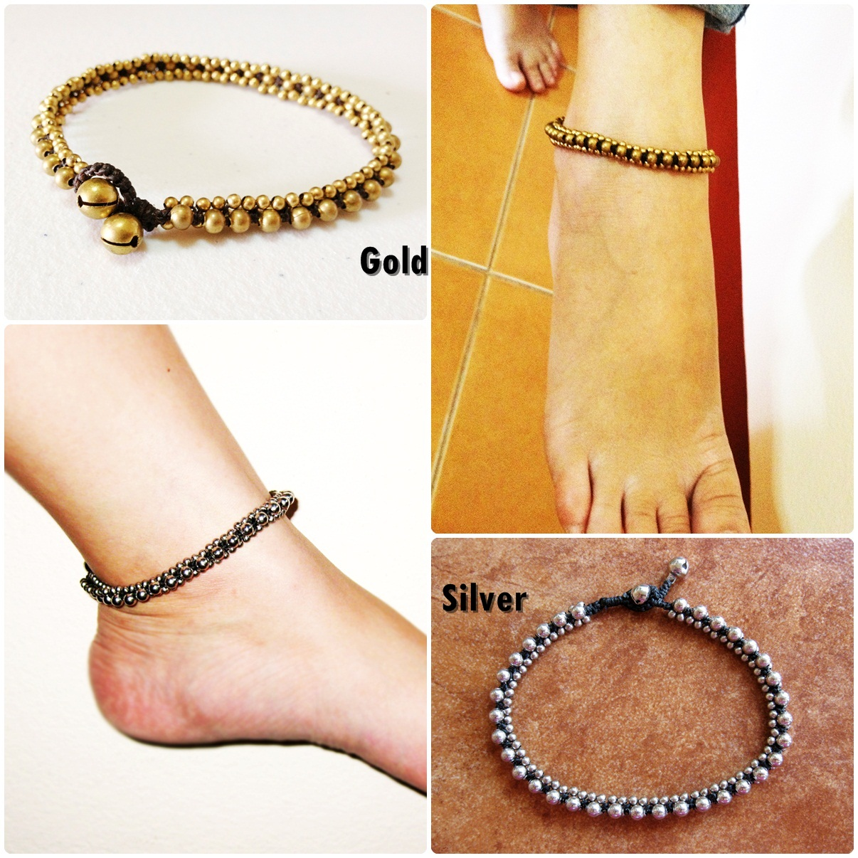 gold design and silver pin anklet single jewel anklets ball jingling the