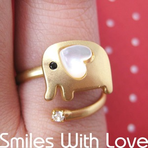 Adjustable Elephant Animal Wrap Ring in Gold with Heart Shaped Ears