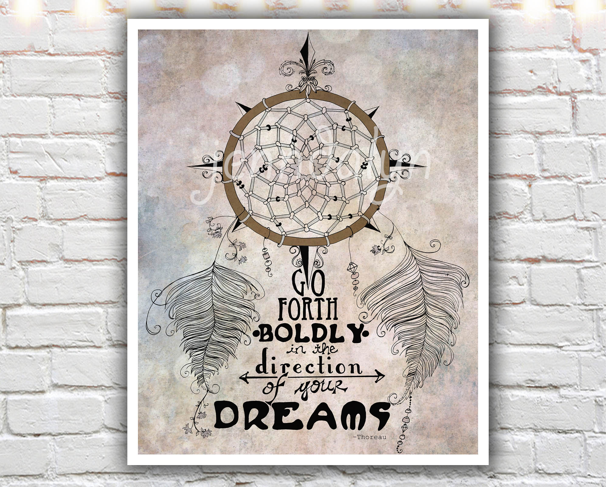 Quotes That Go With Dream Catchers Go Forth Boldly 40 x 40 paper print dream catcher thoreau 18