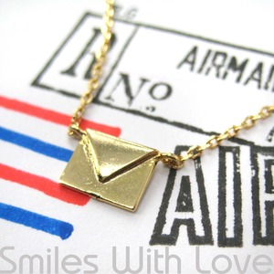 Miniature Love Letters Envelope Air Mail Necklace in Gold Plated Brass