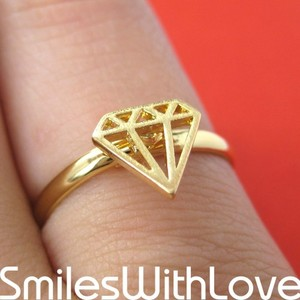 Adjustable Diamond Cut Out Ring in Gold