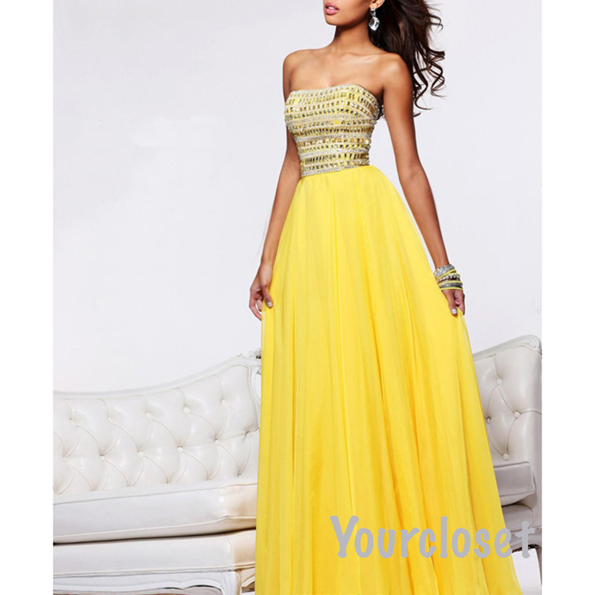 Yellow Evening Dresses 92