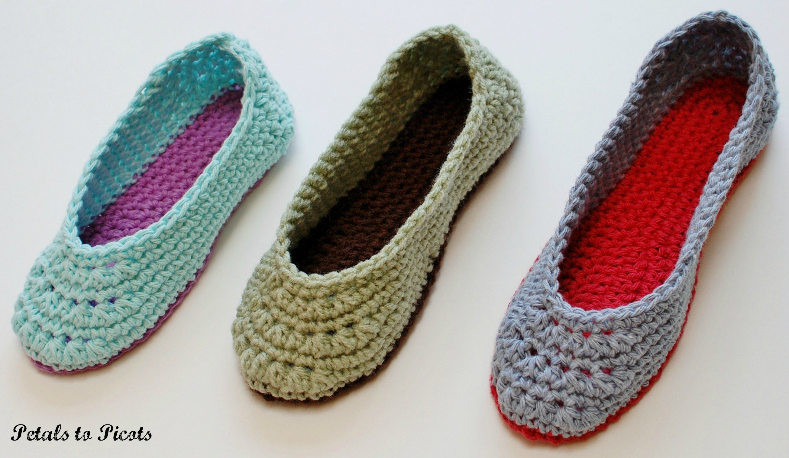 Crochet Shoes : Crochet Pattern - Ladies Slippers (Womens Sizes 4/5, 6/7, 8/9, 10/11 ...