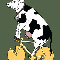 Cow riding bike with cheese wheels, 5x7 print